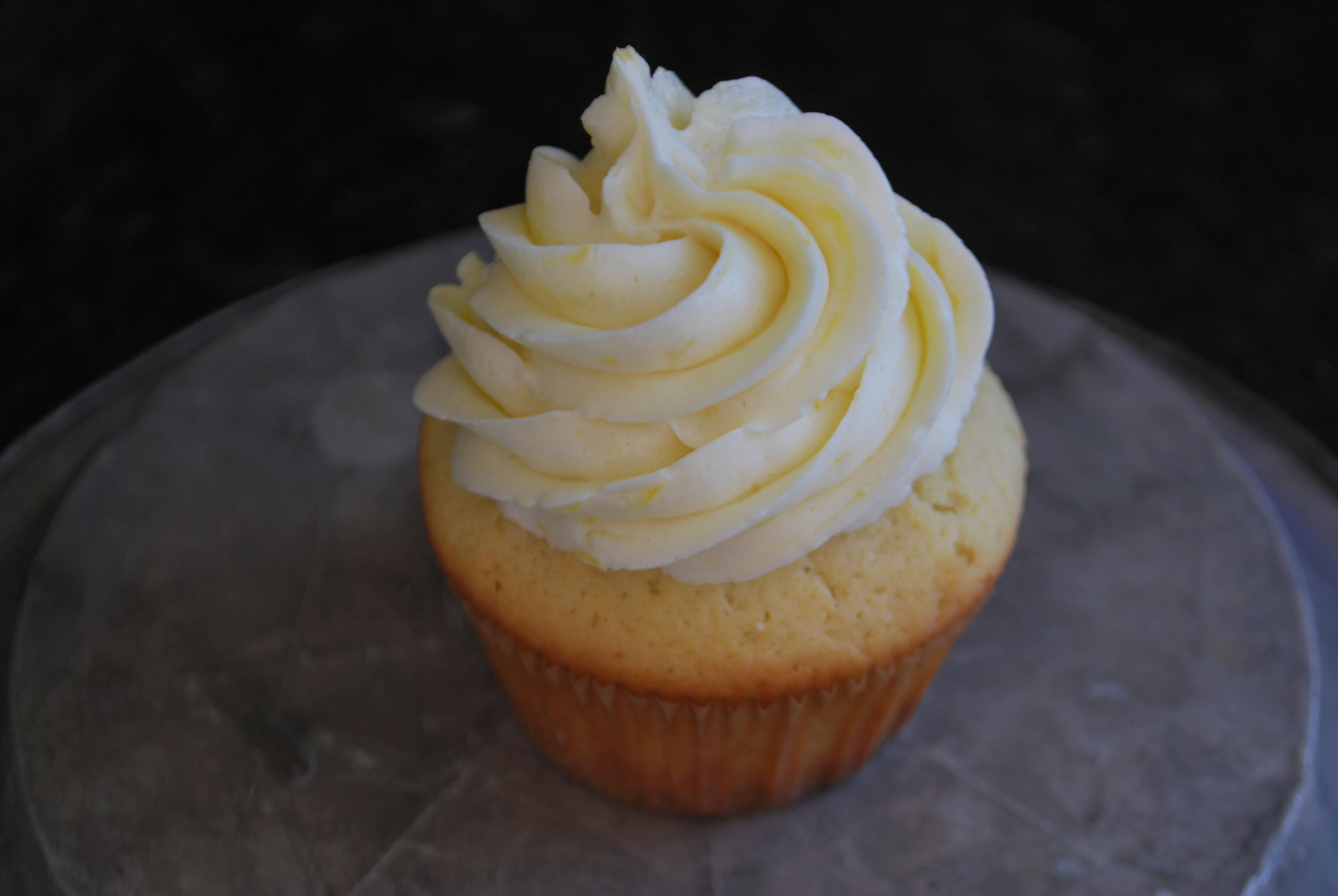 Lemon Cupcakes with Blueberry Pie Filling and Lemon Buttercream